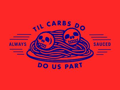Skull 11 - 31 Days of Skulls carbs skull meatball noodles illustration pasta design punk death spaghetti food 31daysofskulls