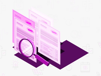 Worktime Searching double check machinelearning purple branding illustration error billing contract work
