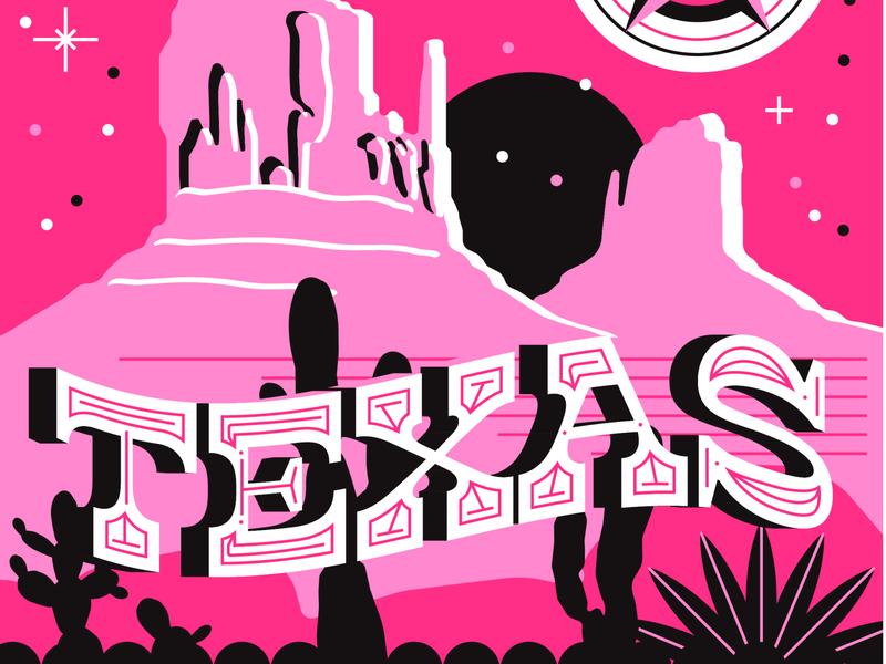 Breakerbox state posters vector design typography screenprint poster pink texas ohio state mountain range massachusetts lobster illustration ohio guitar cleveland cactus brand boston