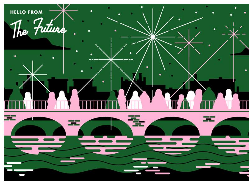 Postcards from the Future Series 1 fireworks bridge health genome genomics dna france citizenship passport midcentury modern midcentury retro future farming food vectors design illustration postcards