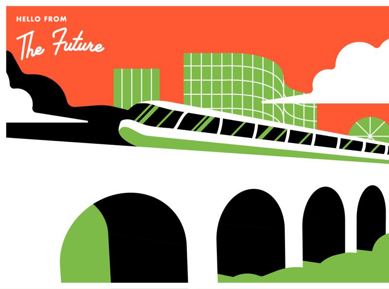 Postcards from the Future Series 4 train bridge future of work work lightrail railway trophy award fusion tokamak yard midcenturymodern midcentury future retro illustration postcard energy postcards fusion energy