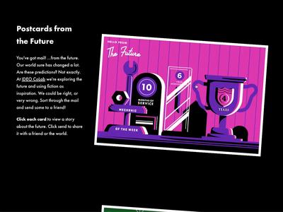 Postcards from the Future Website ux design webdesign web illustration future stories send transform css animation interaction animation flip postcard interaction interaction design website