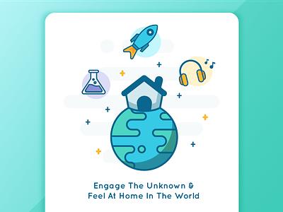 Hello, World. learn activities earth illustration wip world home