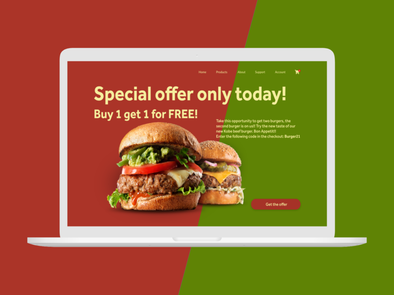 Daily UI challenge  036 burgers burger food special offer dailyui036 dailyuichallenge ux design webdesign design uxui uxdesign ux ui ui challenge daily ui dailyui