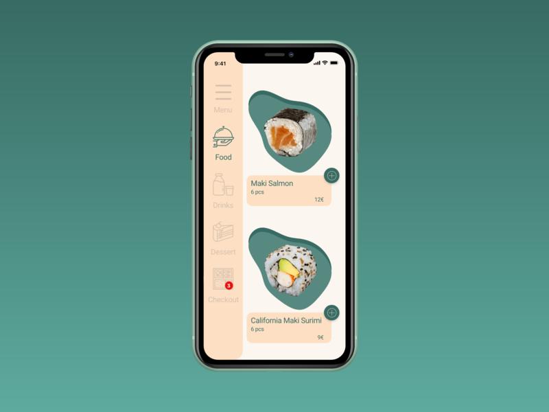 Daily UI challenge  043 japanese food sushi food menu bar menu design app design mobile app mobile app design mobile ux design app uxui uxdesign ux ui ui challenge daily ui dailyui