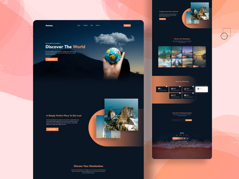 travels agency landing page design clean ui minimal trip responsive design landing page design tour website travel agency design ux ui web design
