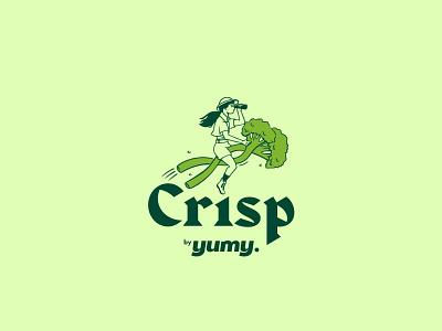 Crisp by Yumy illustration vegan food london brand identity veggie brand design logo