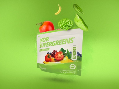 Super Food tomatoes super greens banana 3d montage print packaging fitness sport