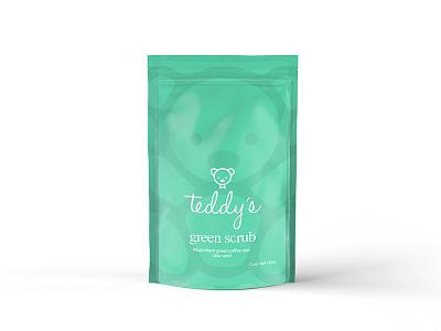 Teddy's Green Scrub Package print packaging logo branding 3d product green