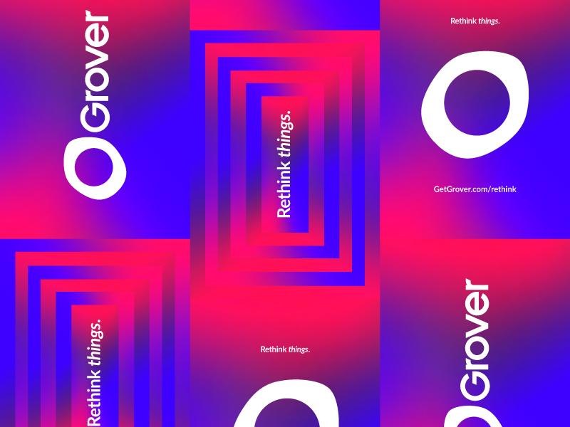 paste up tagline logo grover poster gradient