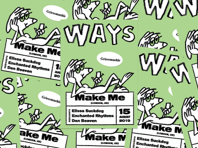 Second WAYS poster party poster nimbus sans green illustration
