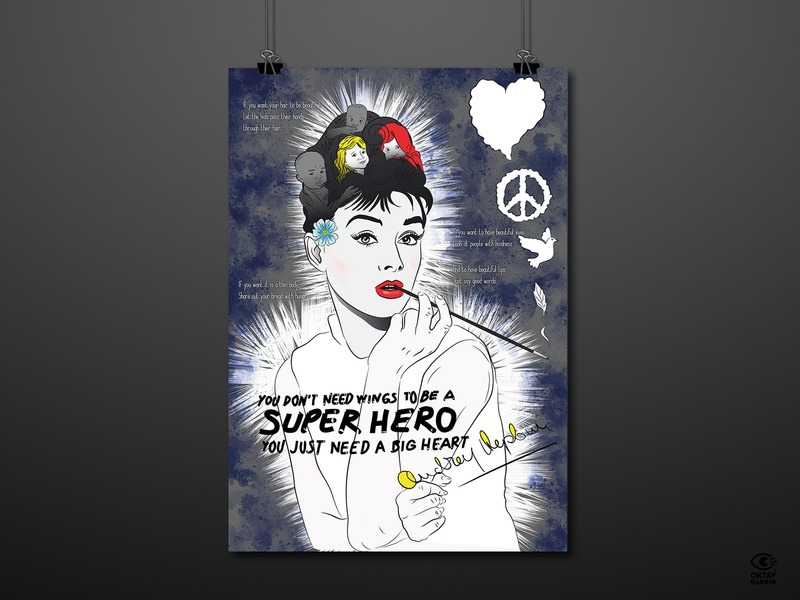 We are Super Hero humanity hepburn audrey hepburn audrey posters poster design illustration poster graphic design graphic digital illustration digitalart design art