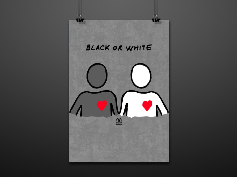 Black or White? racism violence voice heart black blackorwhite posters poster design illustration poster graphic design graphic digital illustration digitalart design art