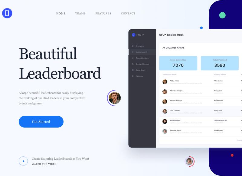 Leaderboard UI design leaderboard
