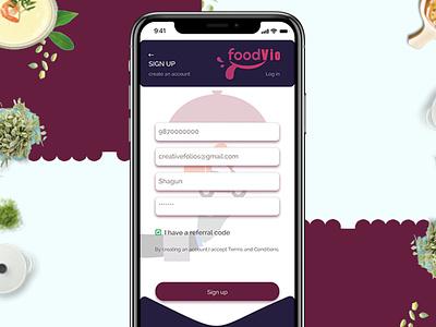 Food App - SIGN UP screen web typography ux ui app design