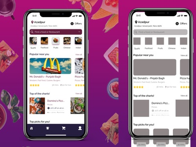 Food App - Home screen and wireframing of homescreen web typography ux ui design app