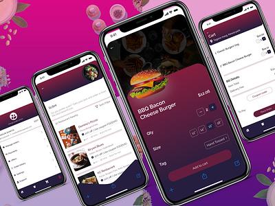 Food app - Profile, Product detail, Restaurant, Cart screens web typography ux ui design app