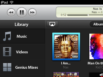 iTunes for iPad ipad ui design music app