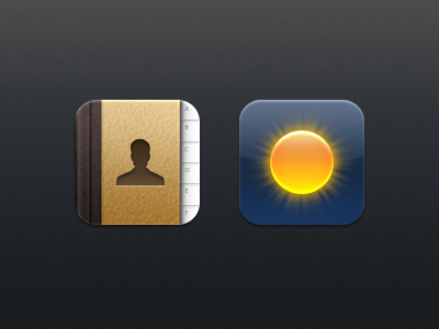 Kiwi - Contacts & Weather kiwi iphone theme icon contacts bind user weather sun rays leather