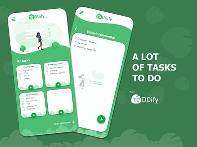 TO DOify - Task management App UI minimal branding app flat to do task green design android app ui