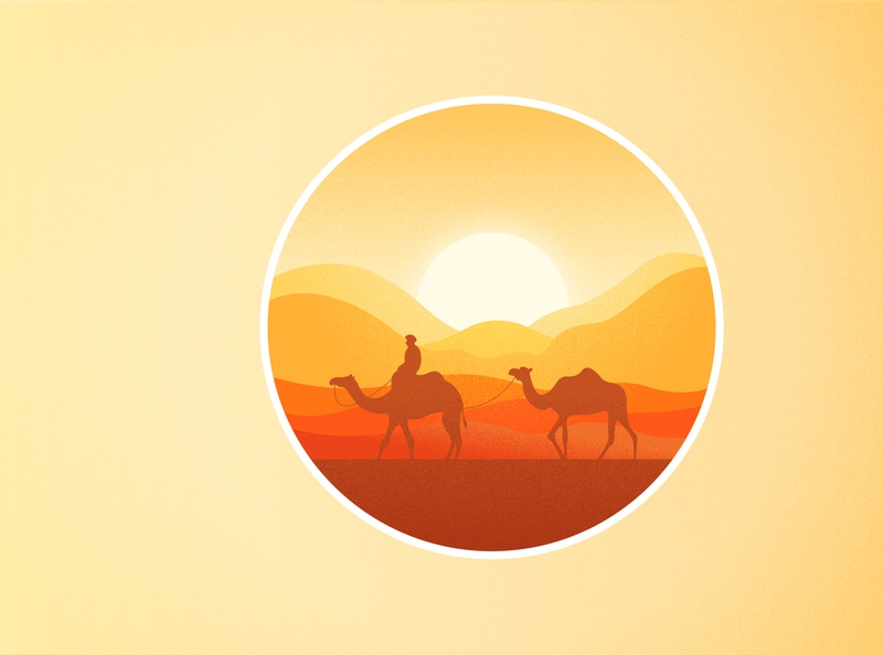 Camel and Desert logo ui indesign vector color flat effect illustrator desert camel