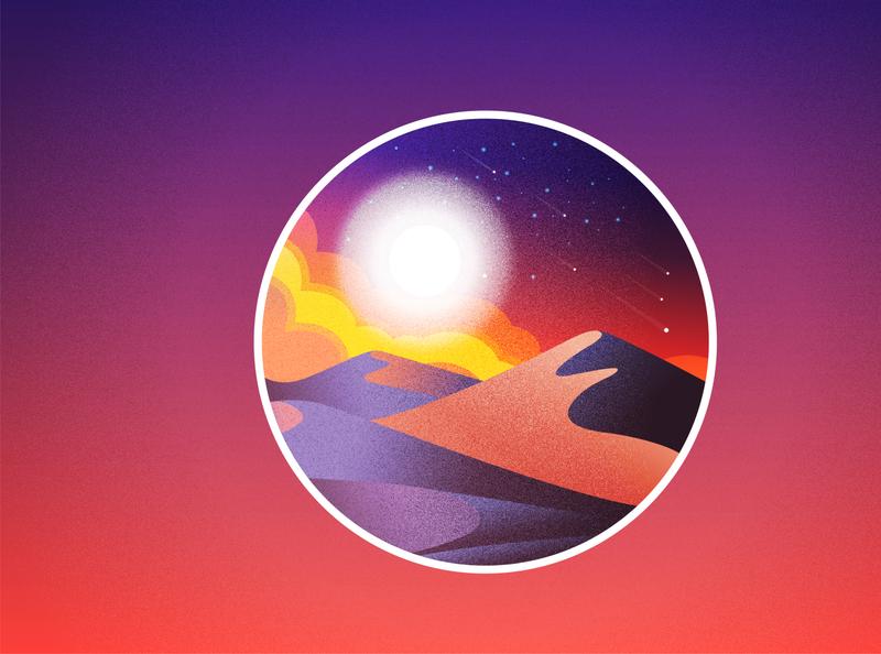 Night Colors in the Desert icon colorful night color desert vector ui logo illustrator flat illustration design