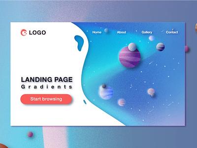 Landing Page color ui logo typography temple branding illustrator vector flat design