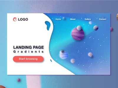 Landing Page color ui logo typography temple branding illustrator vector flat design