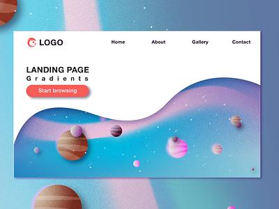 Landing Page minimal web app universe space landingpage color ui illustration temple illustrator vector