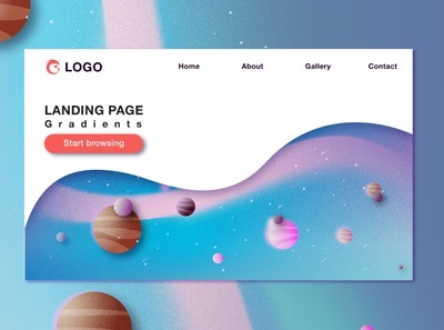 Landing Page minimal web app universe space landingpage color ui illustration temple illustrator vector