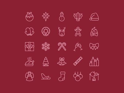Christmas Icons design snowman single line weight icons illustrator christmas advent icon set