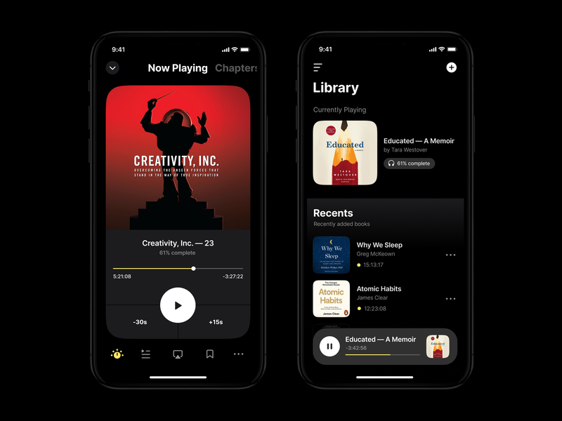 Cloud & DRM-free Audiobook app app design mobile typography clean darkmode minimal ux ui app betraydan