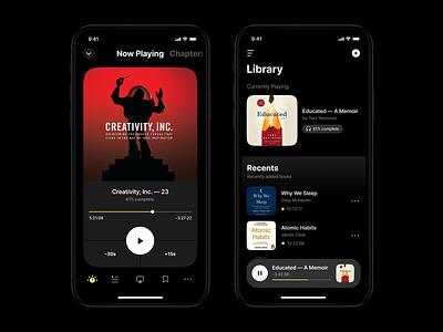 Cloud & DRM-free Audiobook app app design mobile typography clean darkmode minimal ux ui app betraydan