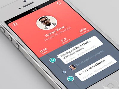 TimelineAppUI betraydan ui ux timeline flat flatui design app iphone iphone5 profile map call timestamp