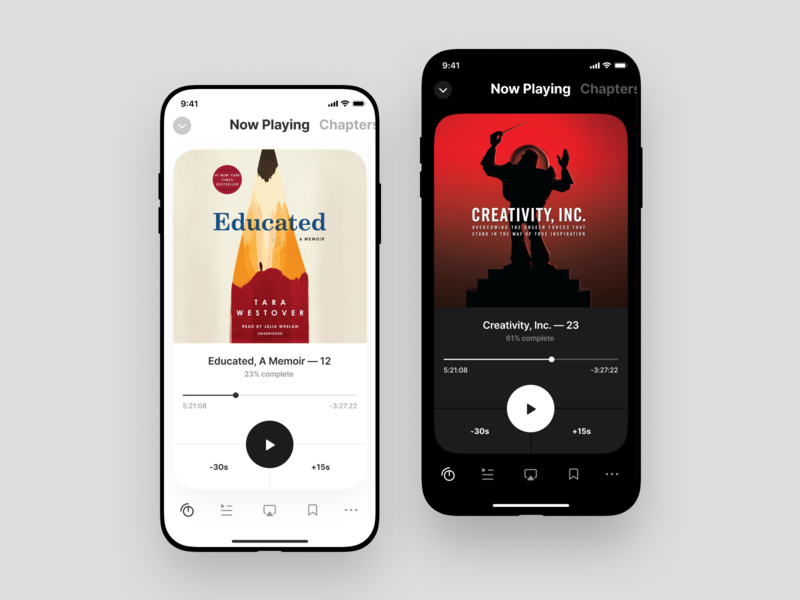 Light & Dark icons mobile clean dark light app design player minimal ui audiobook app betraydan
