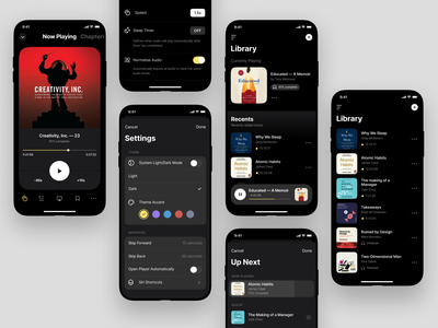 Cloud Audiobook Screens side project books audio dark clean mobile ui app audiobook darkmode minimal betraydan