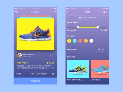 SneakerUI ios bright clean minimal design colourful sneakers app betraydan