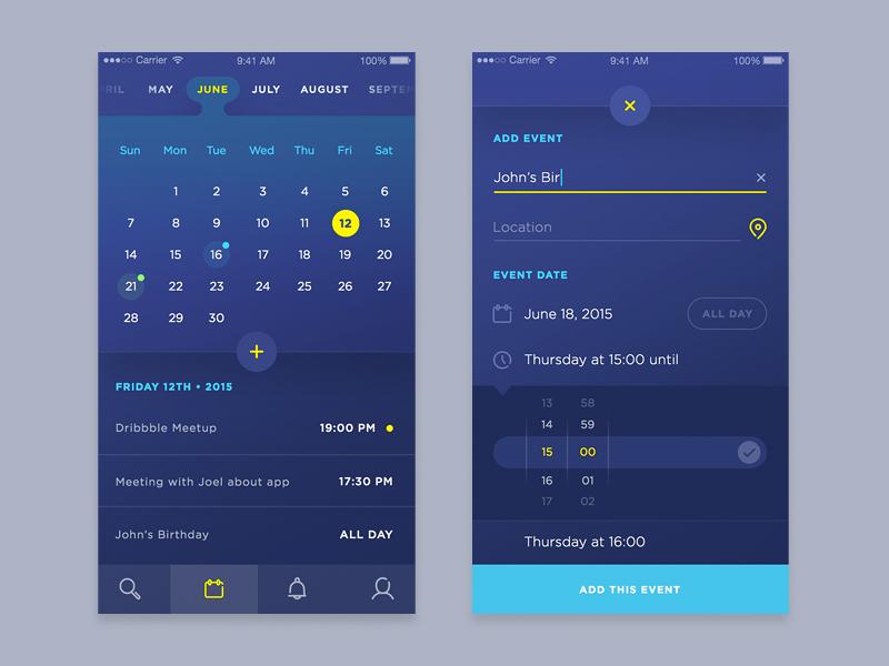 Event Calendar Ui Design : Calendar event ui by daniel klopper dribbble