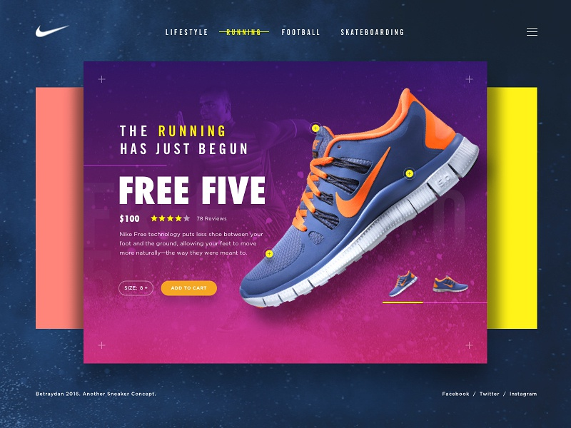 Sneaker Card UI explore ecommerce shoes colourful sneaker ui design app web betraydan