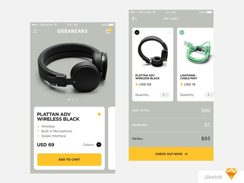 Betraydan Urbanears App Concept headphones minimal sketch freebie ux ui design ios ecommerce app betraydan