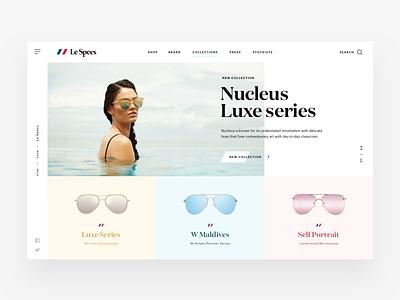 Le Specs Landing Page layout typography glasses lespecs landing clean minimal design ux ui web betraydan