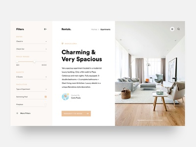 Apartment Hosting design filter type minimal hosting ux ui layout betraydan