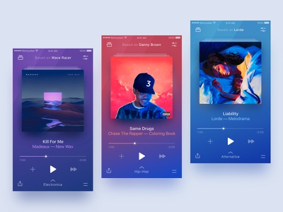 Player Themes design minimal colorful player music ux ui app betraydan