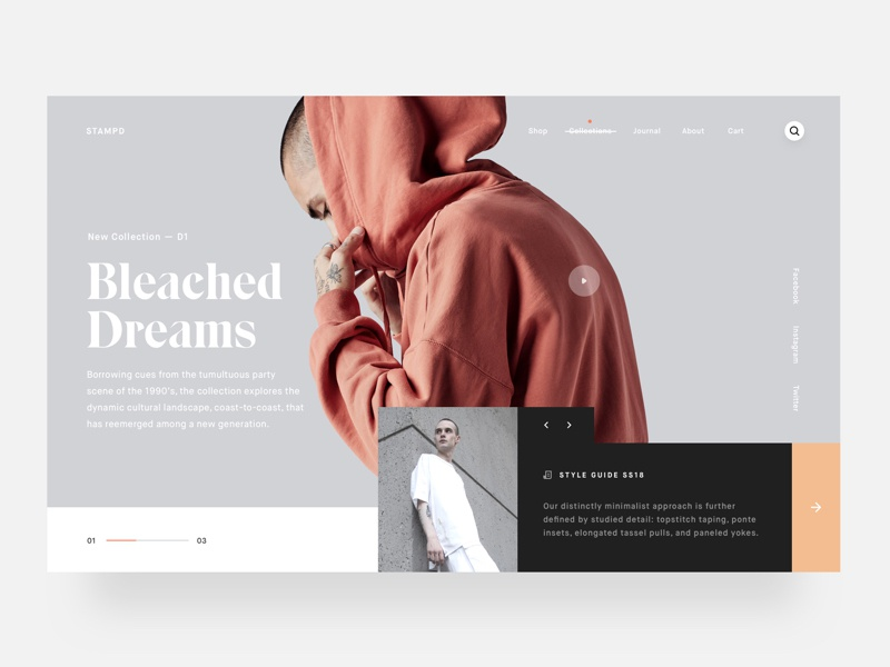 Stampd simple layout muzli typography stampd clean ui clothing minimal betraydan