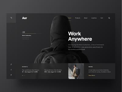 Aer darkui webpage webdesign website web layout minimal aer ux ui betraydan