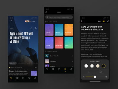 RSS Reader (Dark Theme) dark typography minimal ux reader news rss design app ui betraydan