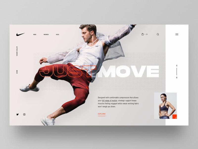 Nike Move ux design typography layout ui betraydan