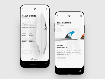 Surfboard + Fin Selector design ux ui mobile prototype ecommerce icons clean minimal surf betraydan