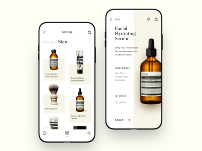 Aēsop typography e-commerce feed product inspiration design mobile prototype ux ui clean icons minimal betraydan