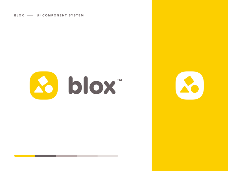 Blox branding minimal clean yellow logomark brand logo sketch ui design system over